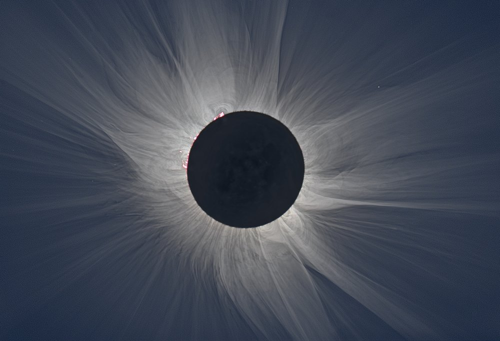 White light image of the solar corona during totality. Credit: M. Druckmüller.
