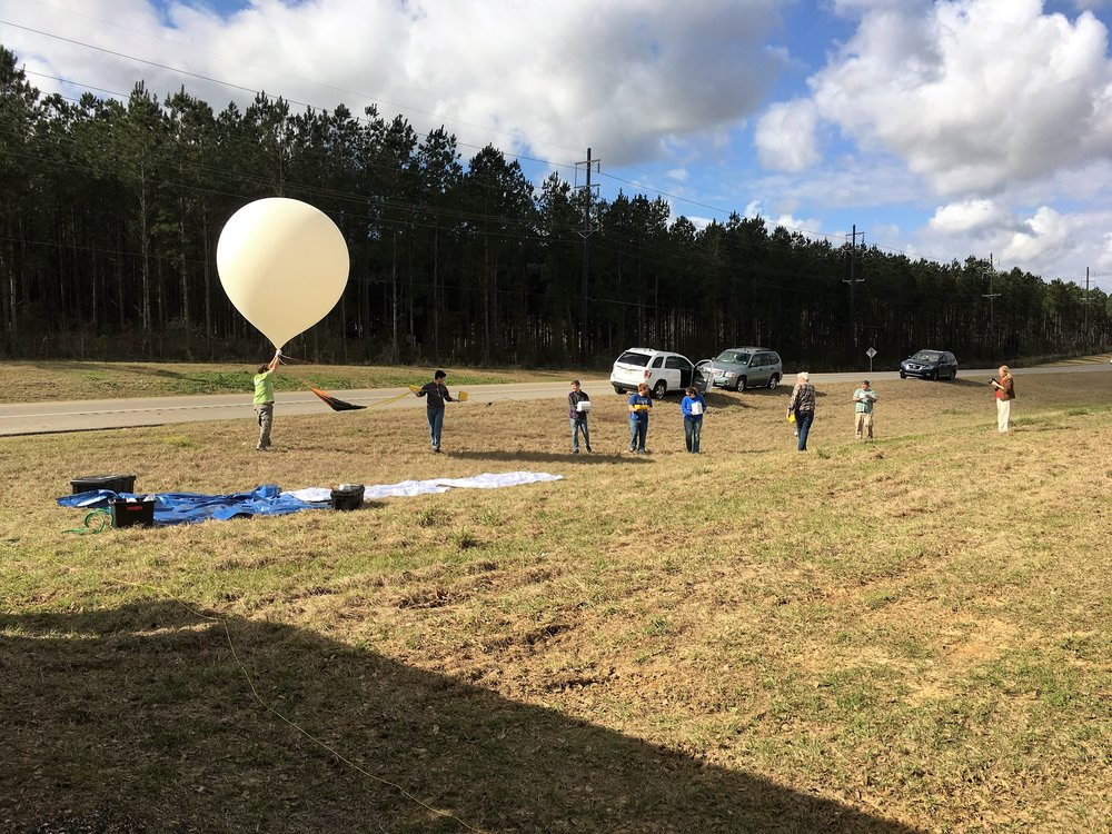 Photo taken during the February 2017 Test Flight in Jackson, LA, of the LSU Solar Eclipse Balloon Project Team lining up for launch! Photo Credit: C. Fava, LaSPACE