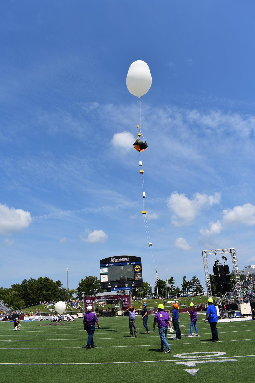 LSU balloon carrying an HD camera. Credit: Nicki Button.
