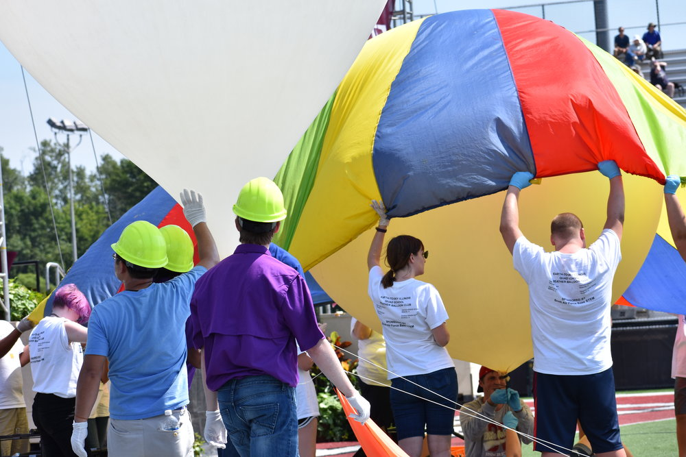 Another balloon team prepares for flight