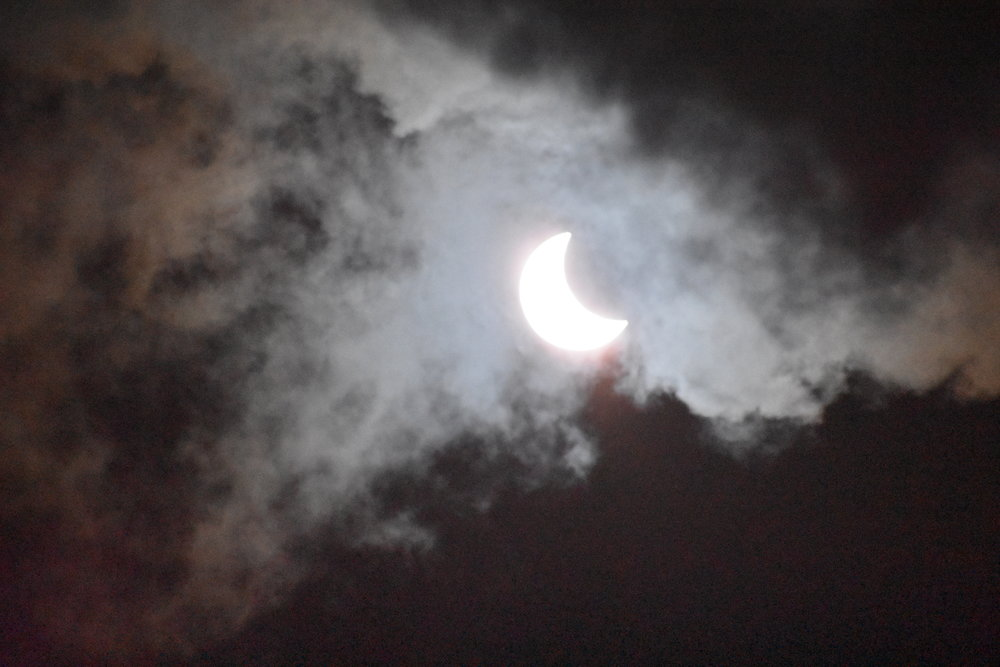 Partial eclipse observed at 12:43 p.m., about halfway to totality. Credit: Nicki Button.