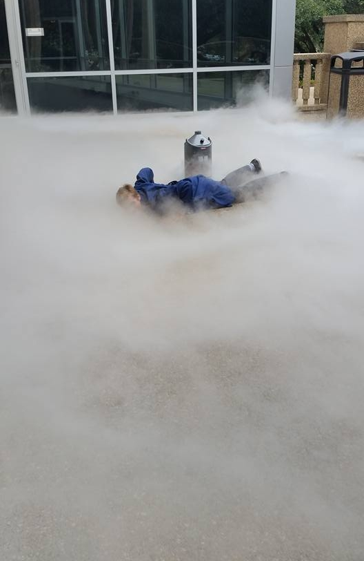 Don't try this at home! Carson Szot and liquid nitrogen all around!