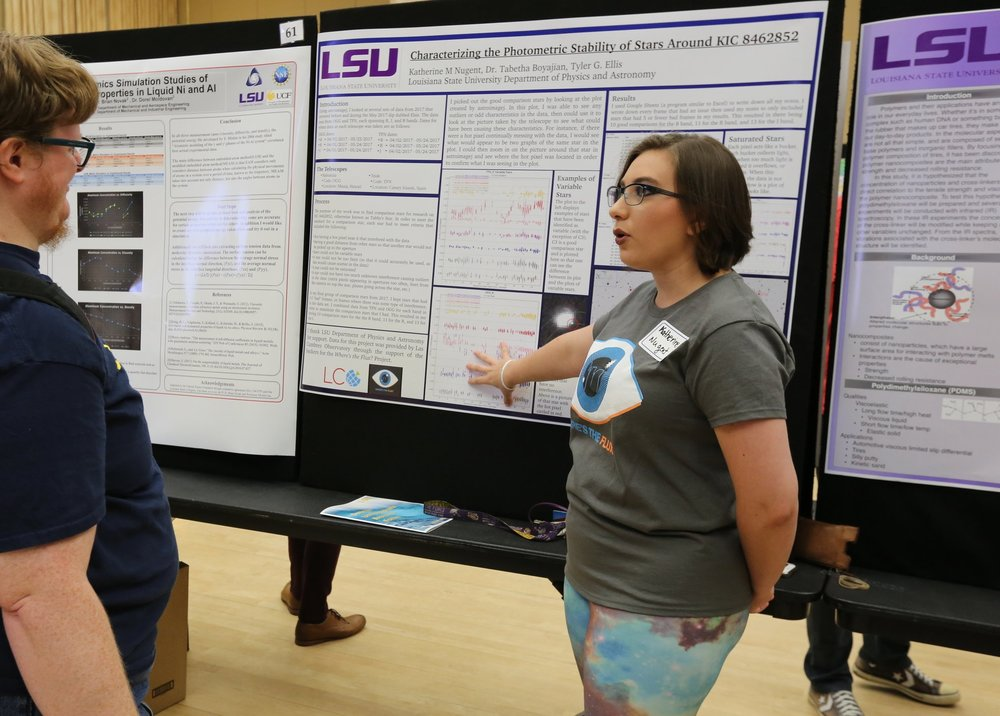 Photo of Katie presenting her research on comparison stars for KIC 8462852 at SURF this summer. Photo by Paige Jarreau.