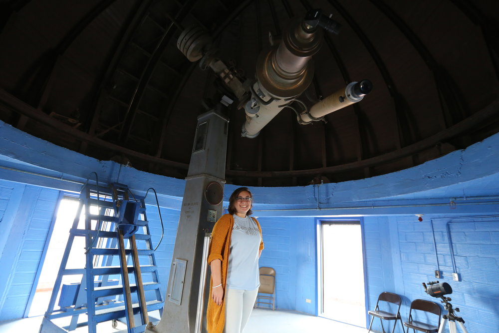 Katie Nugent in the LSU Observatory. Photo by Paige Jarreau.