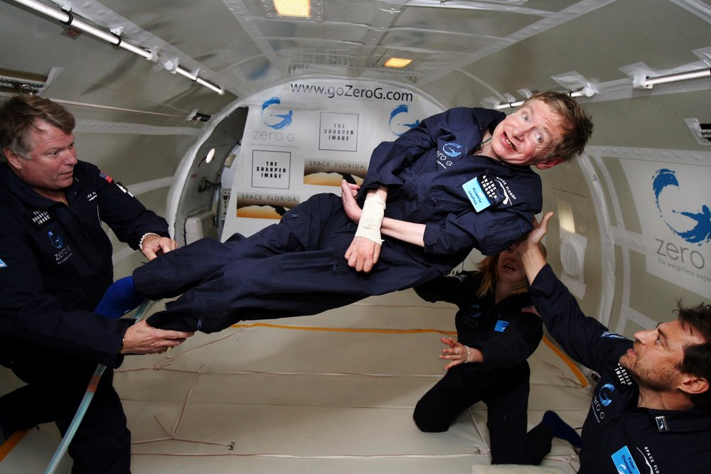 When Stephen Hawking makes a birthday wish, it's epic, and can even involve gravitational waves! Photo: Stephen Hawking taking a zero-gravity flight. Photo via Wikimedia. Credit: Jim Campbell/Aero-News Network.