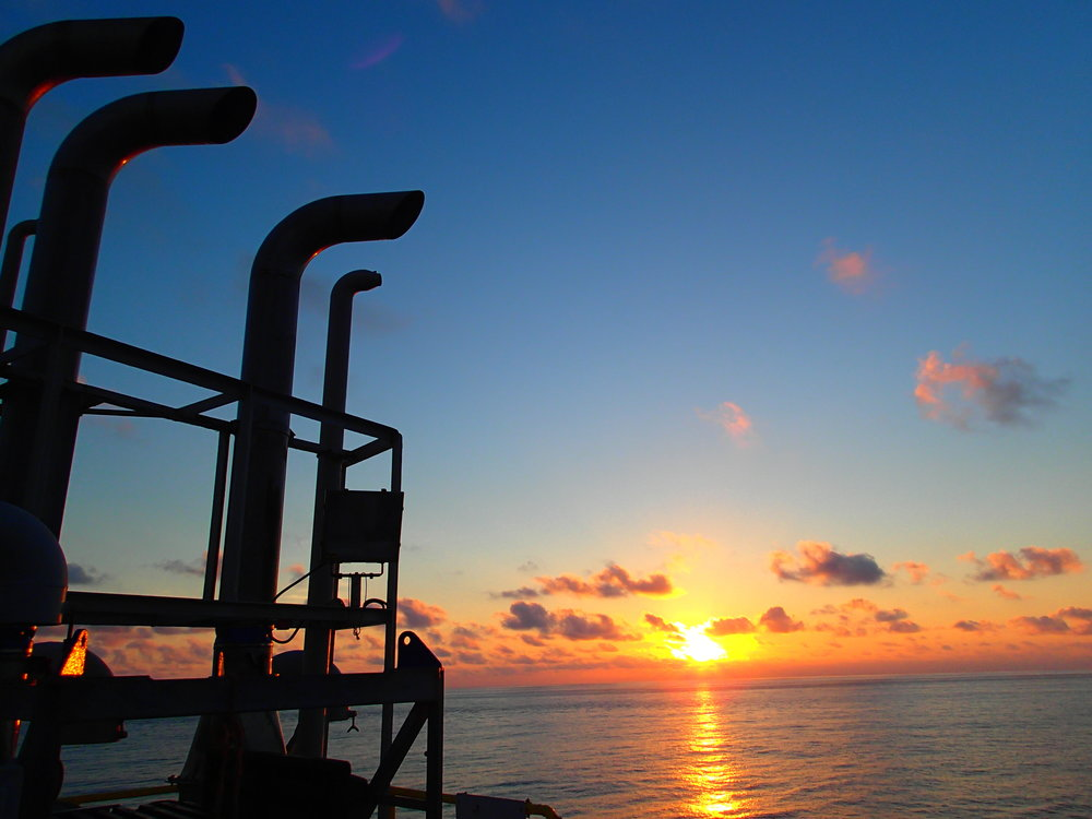 Sunrise view on Joides Resolution. Photo credit: Sandra Herrmann, IODP.