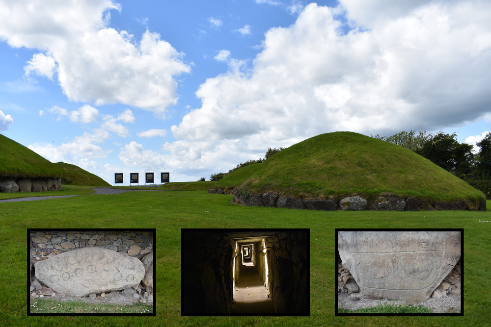 Mounds at Knowth.  Left and right insets show kerbstones containing artwork.  Middle inset shows a passage way in the mound. Photo Credit: Nicki Button