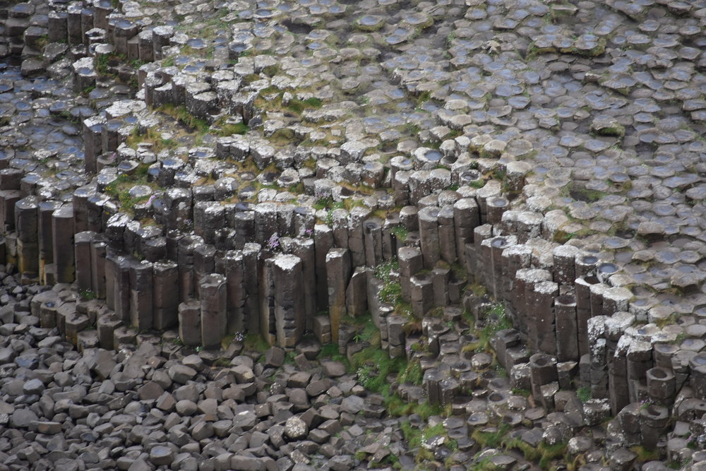 Basalt columns at Giant's Causeway. The hexagonal shapes are easily observed at the top of the columns. Photo Credit: Nicki Button