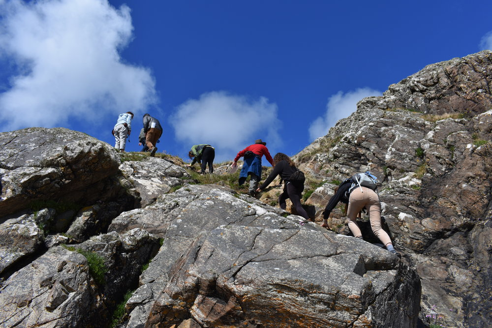 The group traversing the outcrops.