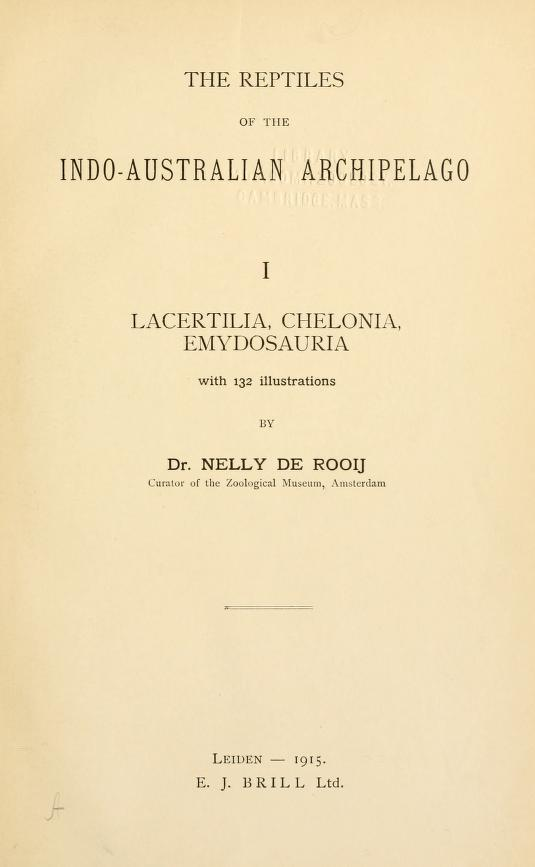 A publication by Nelly de Rooij on the reptiles of the Indo-Australian archipelago.