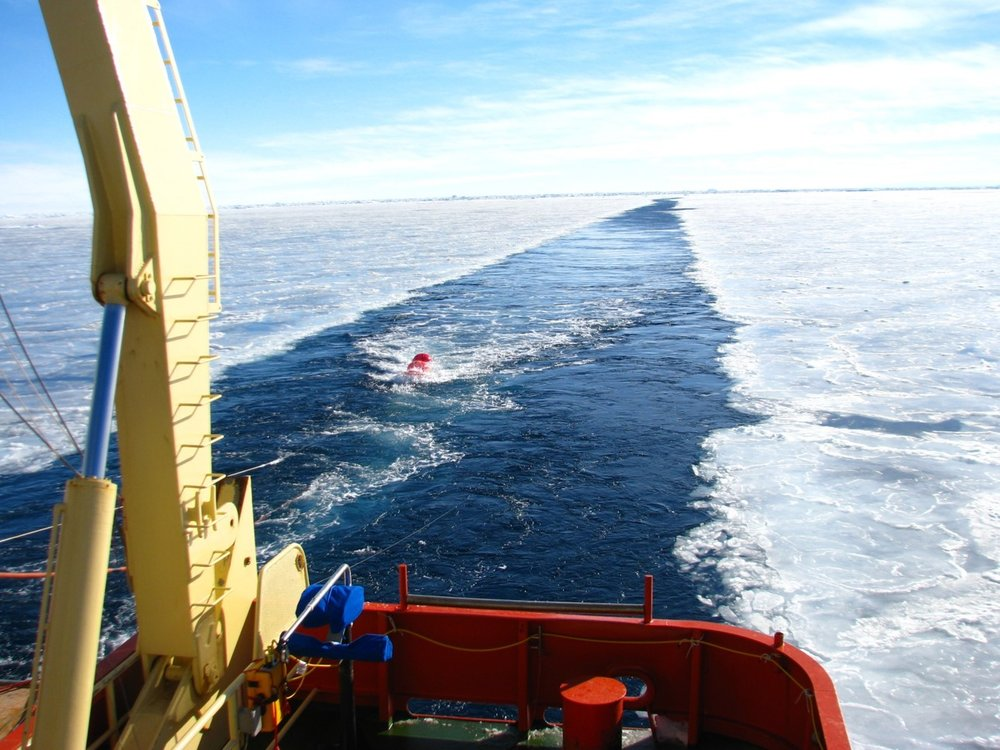 For this project, researchers deployed marine seismic technology from the back of an icebreaker near Antarctica's Sabrina Coast. The equipment captured images of the seafloor, including geological formations created by the ice sheet. This, along with ancient pollen information from core samples, allowed the researchers to reconstruct how glaciers in the area have advanced and retreated during the past 50 million years. Credit: Sean Gulick, The University of Texas at Austin.
