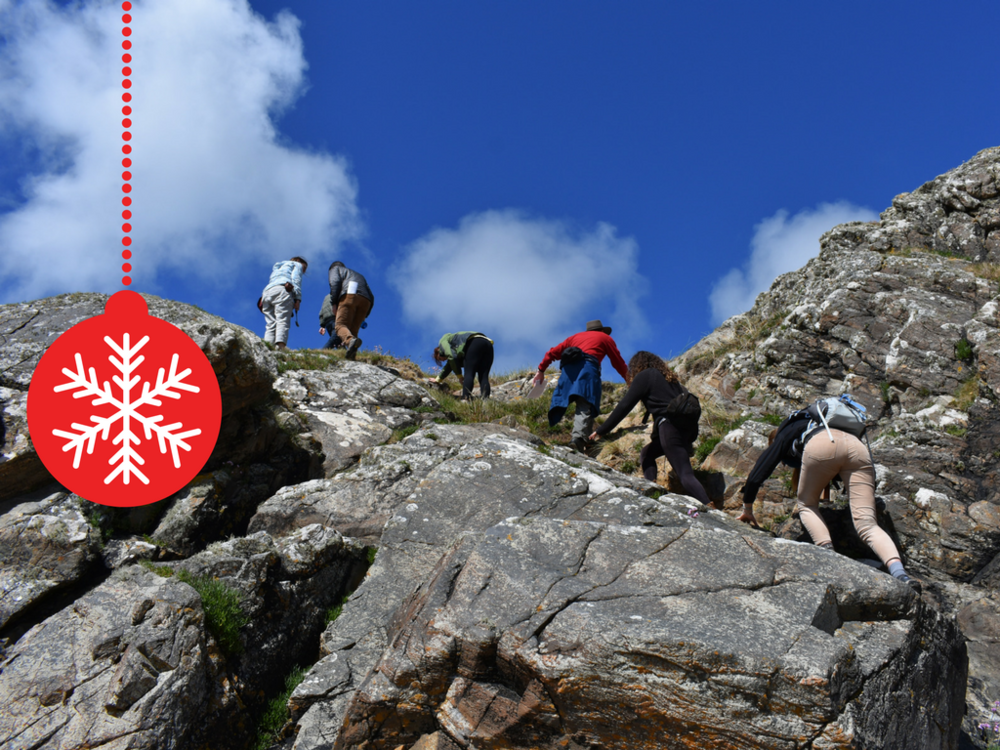 LSU students scramble up an rocky outcrop in Ireland. Credit: Nicki Button.