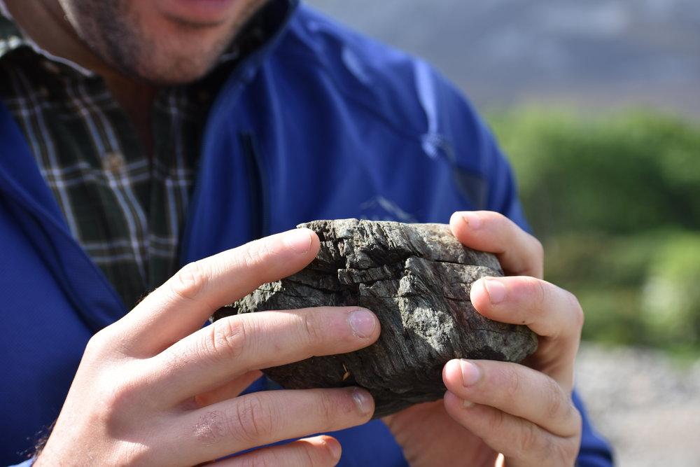 A student inspects a rock in Ireland. Credit: Nicki Button.