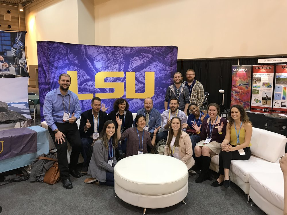 LSU at AGU! Official CoS Student Microblogger at AGU Don Hood is one the far left. Credit: Paige Jarreau.