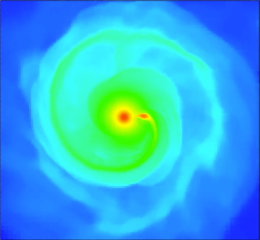 "A snapshot from one of Manos' simulations showing a model he and colleagues are running for the star Betelgeuse in the constellation of Orion. ""Turns out that Betelgeuse has some properties (including how fast it rotates) that set it apart from other giant stars of similar mass,"" Manos said, ""We believe this is because Betelgeuse was once in a binary system with a smaller star (about the size of our sun) that over time merged within the envelope of Betelgeuse, spiraling down to its core and causing the star to rotate faster. Here you see the smaller star right before it gets completely disrupted around the core of the bigger star. The Law of Attraction brought them together to the ultimate point. Note the teardrop shape of the smaller star due to the tidal forces ripping it apart."""
