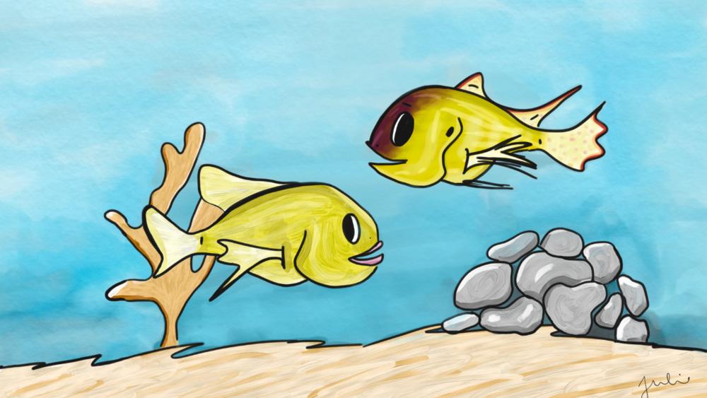 Fish communication illustration by Julie Butler, a 2018 TEDXLSU speaker.