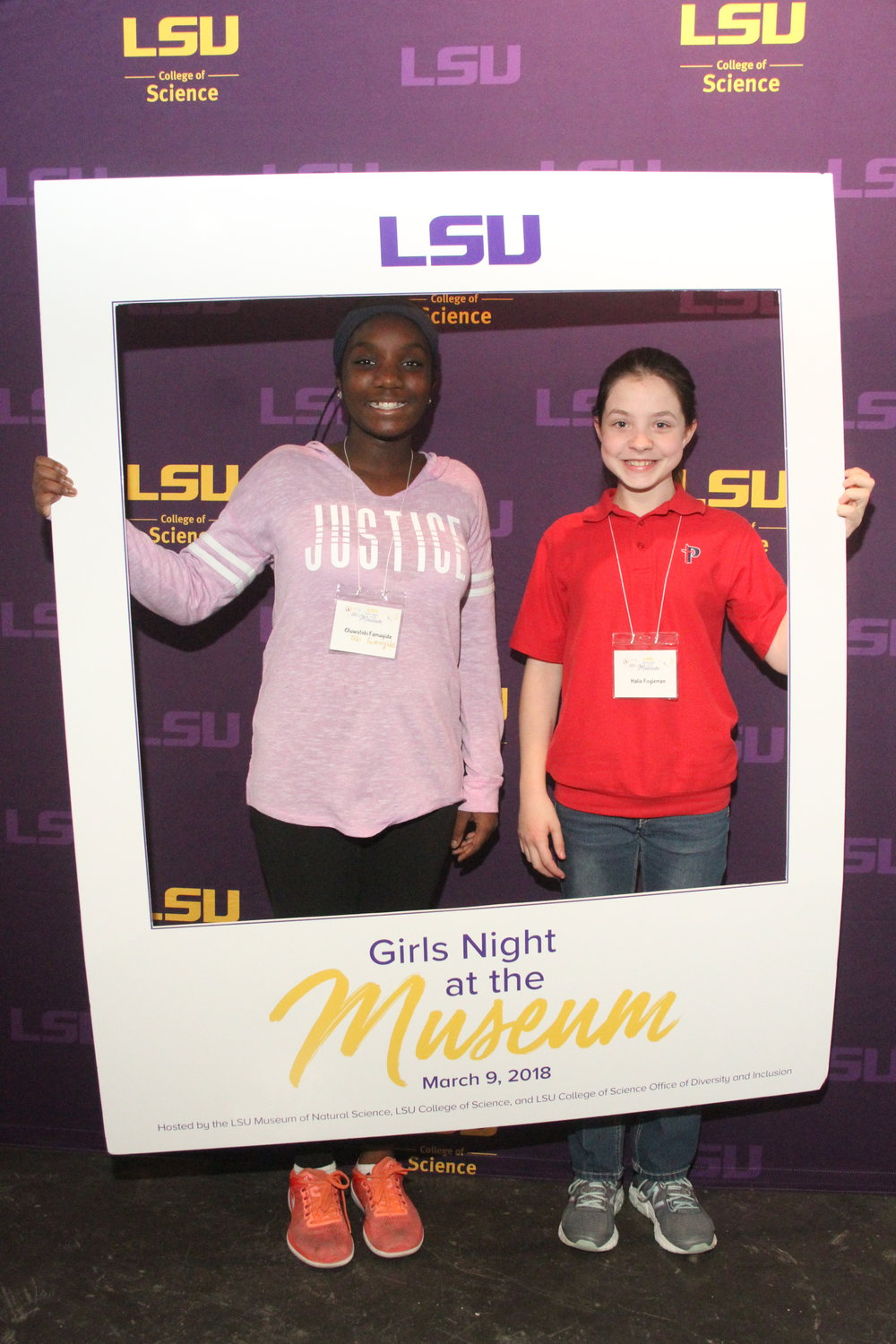 Here's Tobi with her good friend Hailie. They are all smiles at the Girls Night at the Museum photo booth.