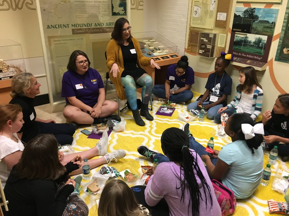 The girls snacked and chatted with Dr. Sophie Warny, associate professor in the Department of Geology & Geophysics and AASP professor in the Center for Excellence in Palynology and physics undergraduate Katie Nugent.