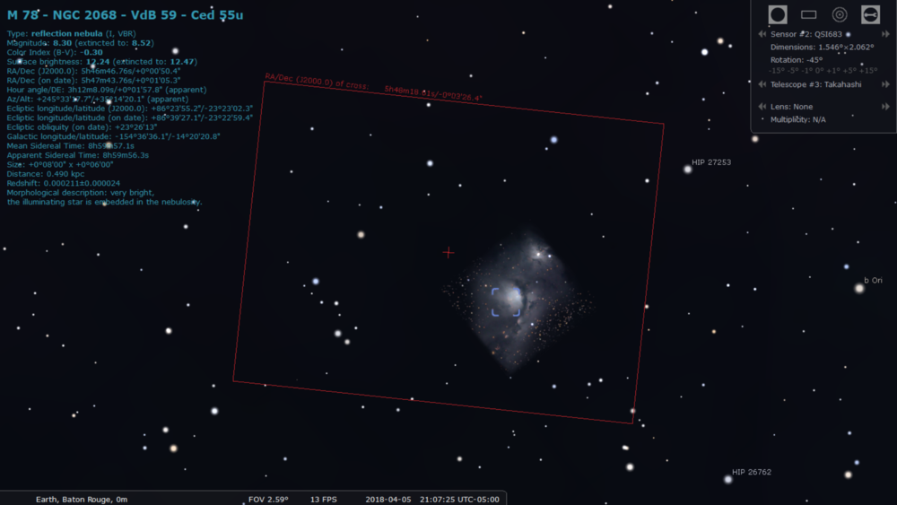 Example of selecting targets (deep space) using the program Stellarium. Photo Credit: Connor Matherne, LSU.