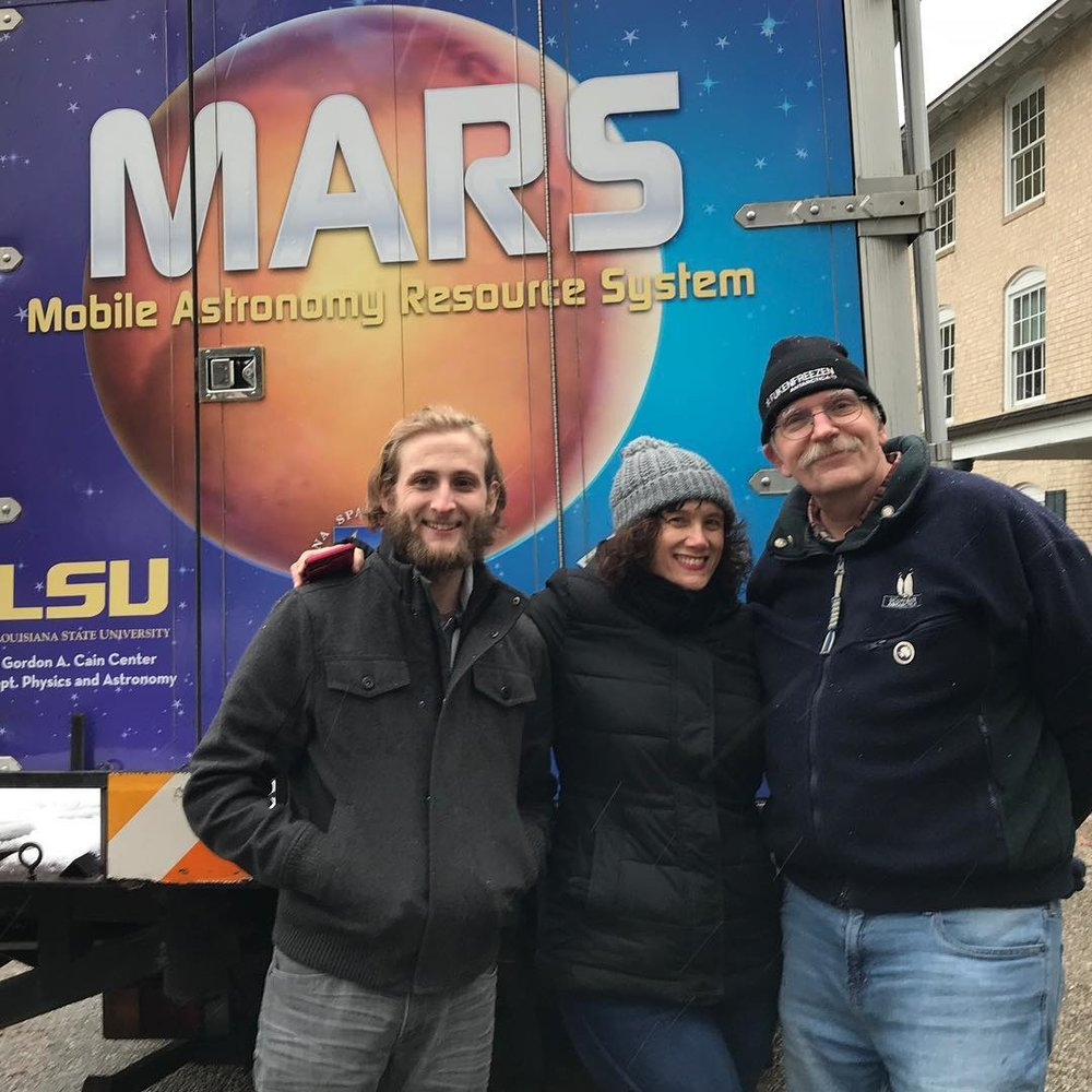 Anthony Ficklin, LaSPACE Program Manager Colleen Fava, and LaSPACE Program Director and LSU Physics Professor Greg Guzik