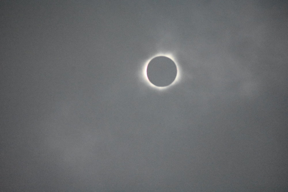 Diamond ring at the start of totality observed in Carbondale, IL.  Shot with a Nikon D3400 camera. Image is gray and grainy due to the clouds. Credit: Nicki Button.
