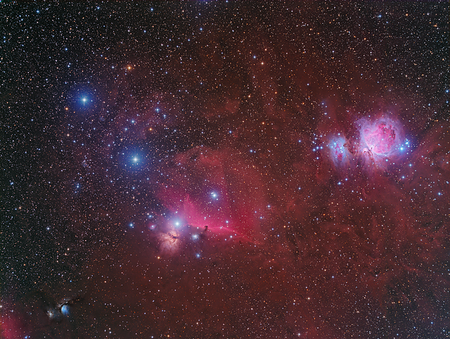 Orion's Belt. The belt is the three bright stars running from northwest to southeast in the left of the image. Very high resolution image with nearly 50 hours of exposure, which reveals nebula surrounding the familiar constellation. Photo credit: Connor Matherne, LSU.