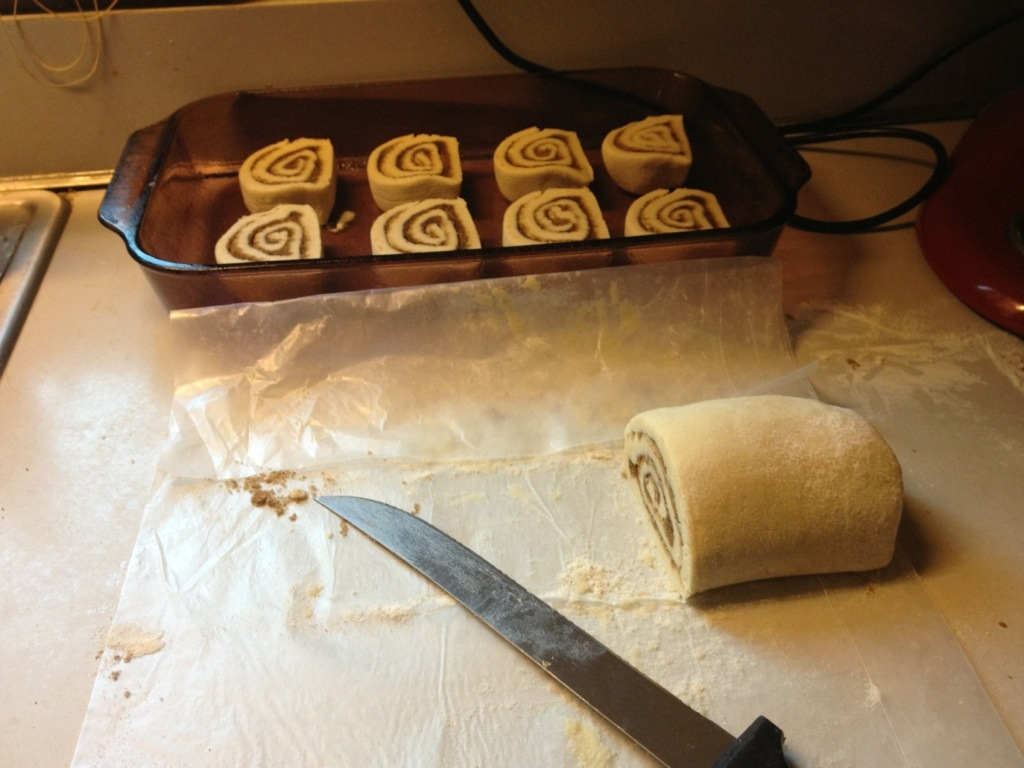 Cutting the GF Cinnamon Rolls Dough