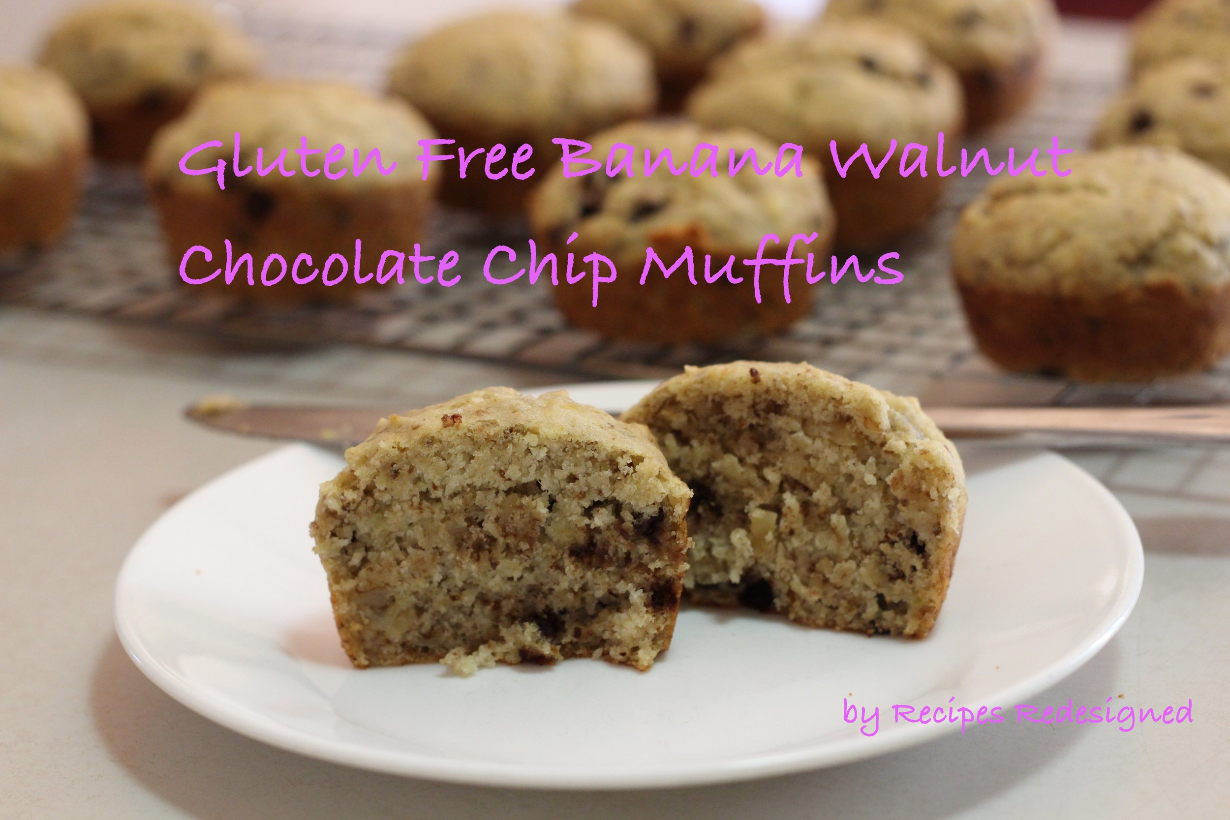 Gluten Free Banana Walnut Chocolate Chip Muffins