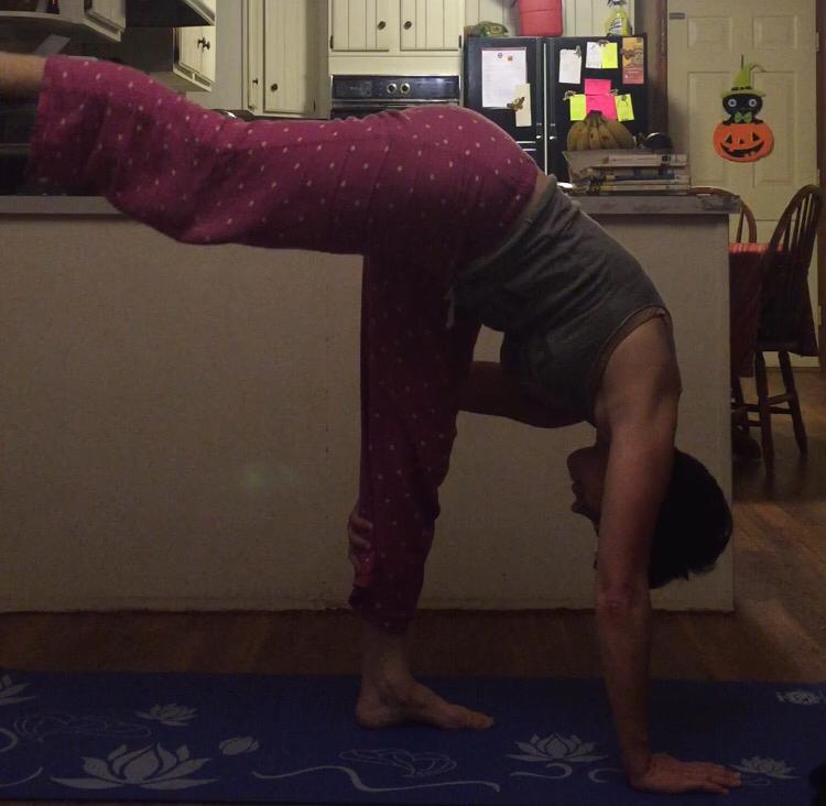 Standing splits practice.