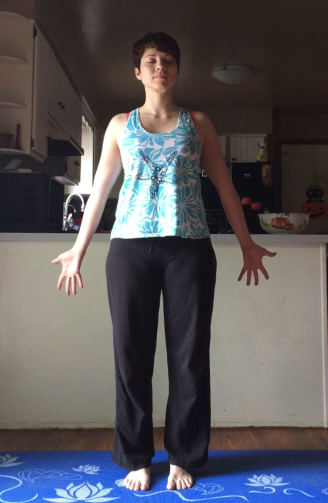 Applying what I learned to stand tall in Tadasana with Equal Standing.