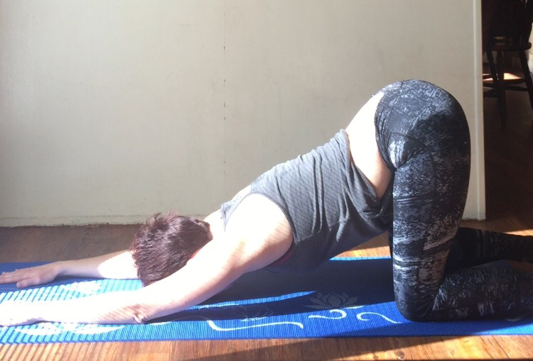 Heart to earth pose- another great upper back opening asana.