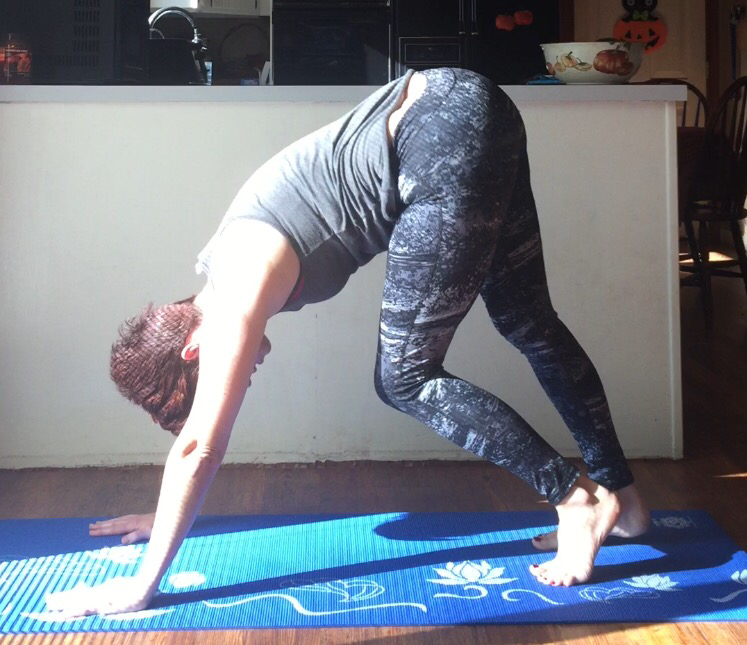 Lots of softly pedaling the feet during Downward Facing dog.