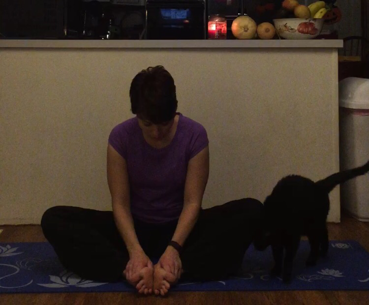 Opening the hips in cobbler's pose and massaging the feet. Our feet do so much for us but are so often overlooked.