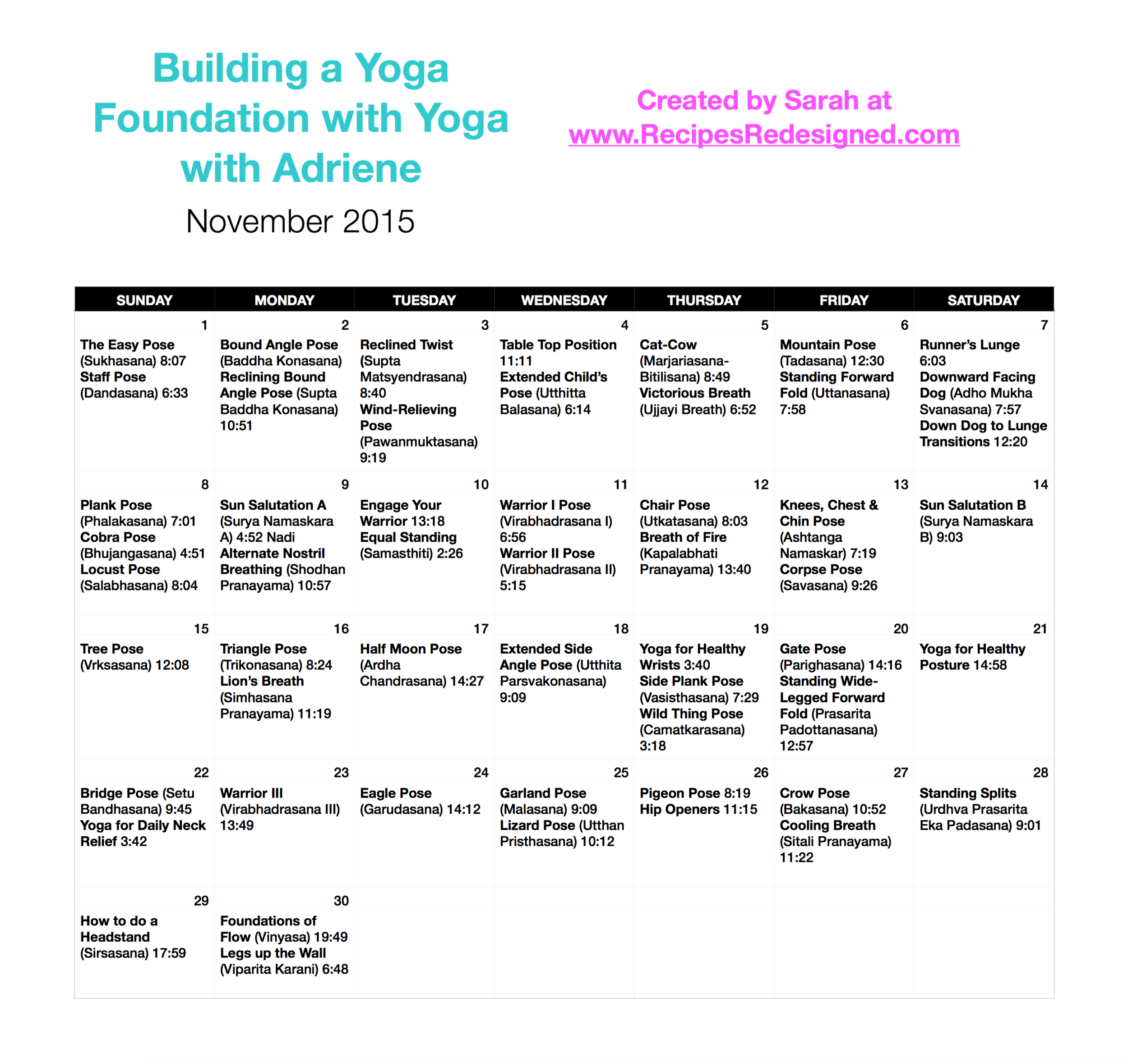 Pic of Novemeber Yoga Calendar