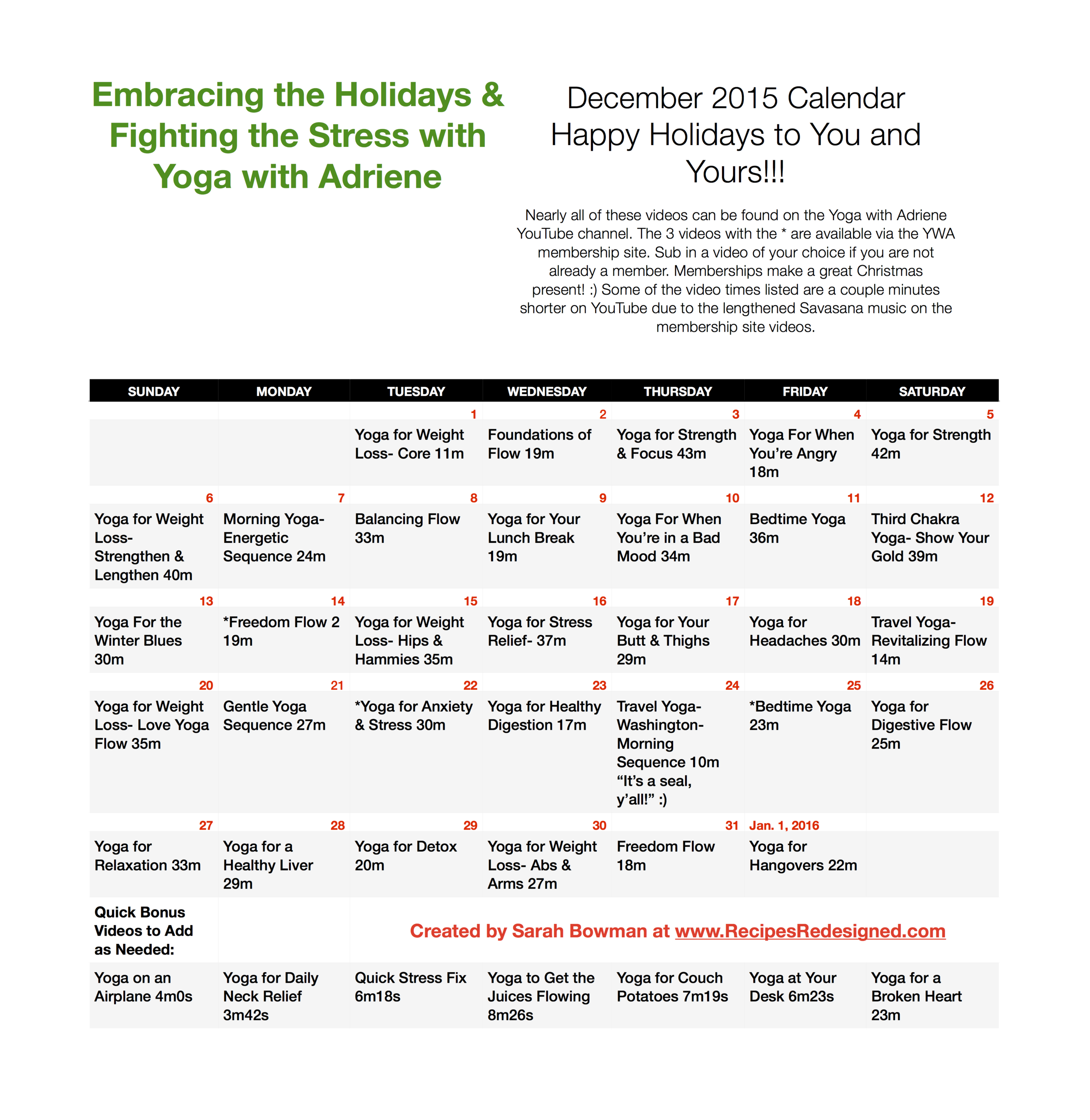 Embracing the Holidays & Fighting the Stress with Yoga with Adriene December calendar by Recipes Redesigned