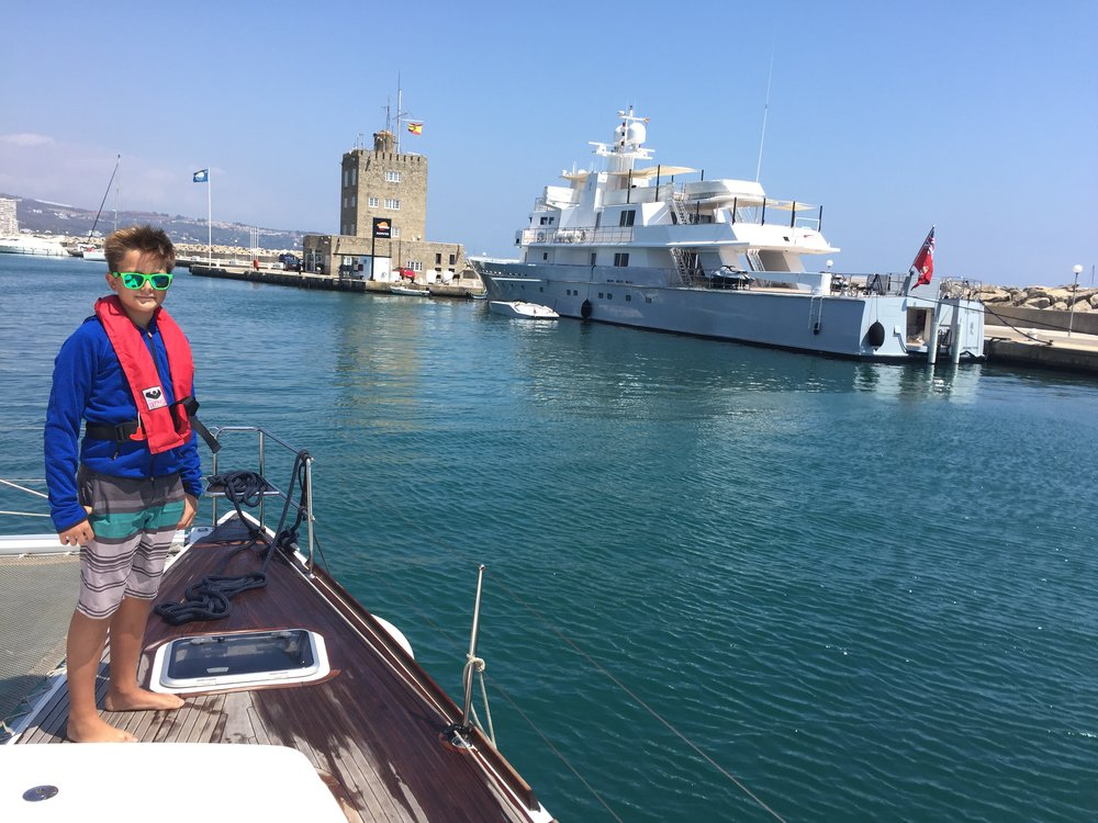 entering Sotogrande Marina for the haulout