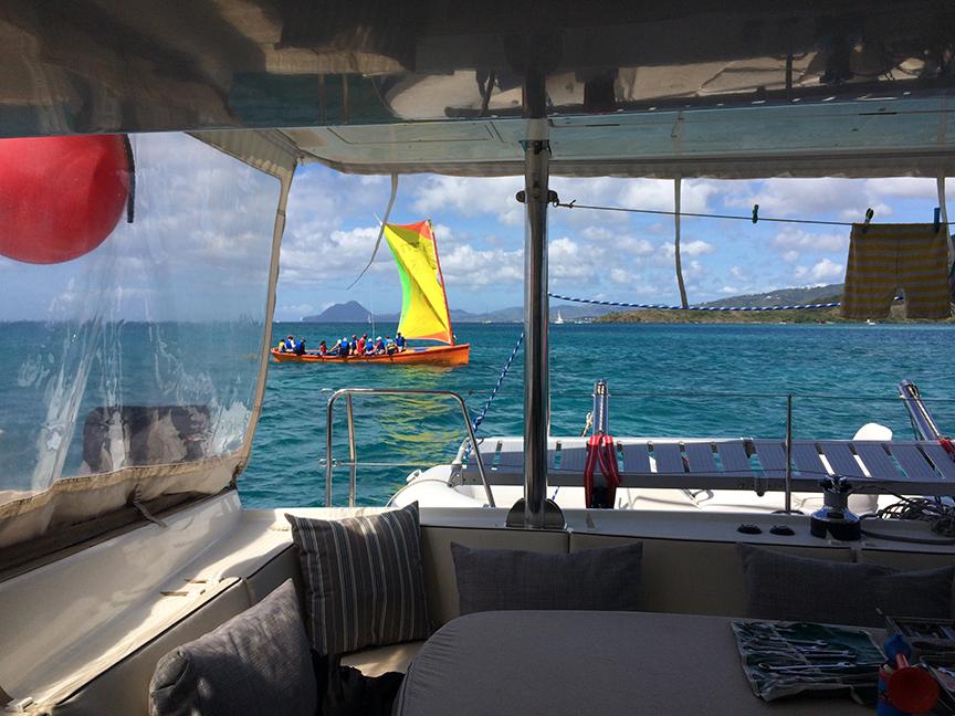 A colorful Martiniquais sailing boat