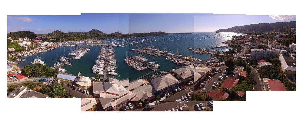 Pano of Marina du Marin with Enzo's drone- we're on the small pontoon in the foreground