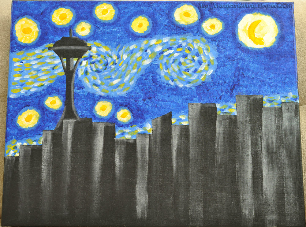 "Painting 3:  ""Seattle Starry Night"""