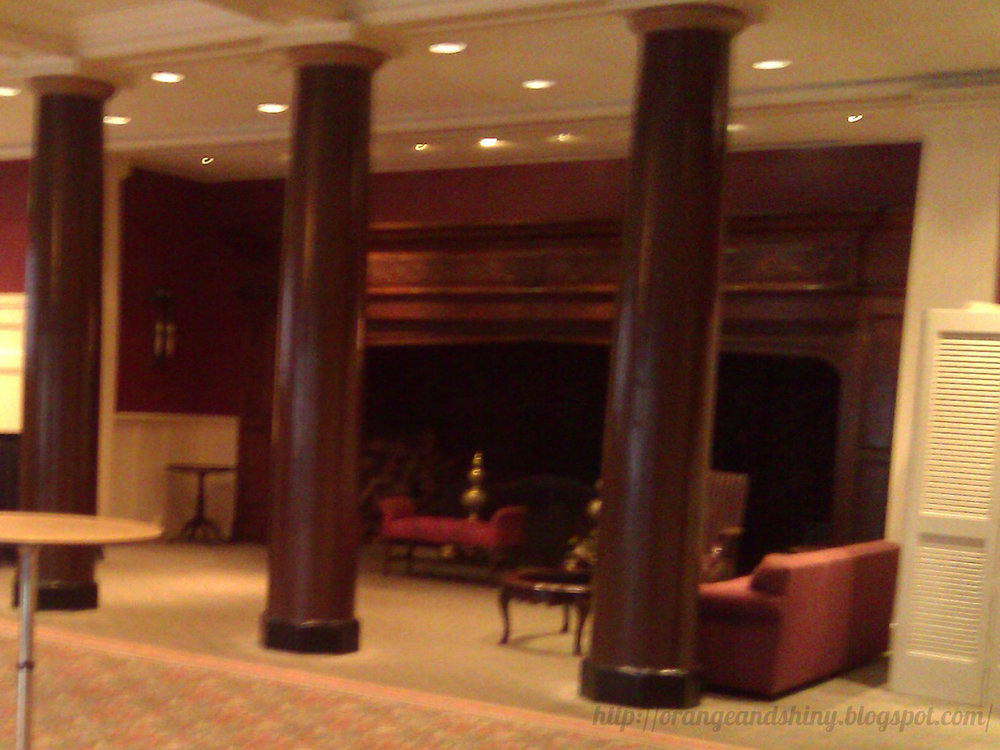 The HUGE fireplace at the Rainier Club. They even set up food stations in it!