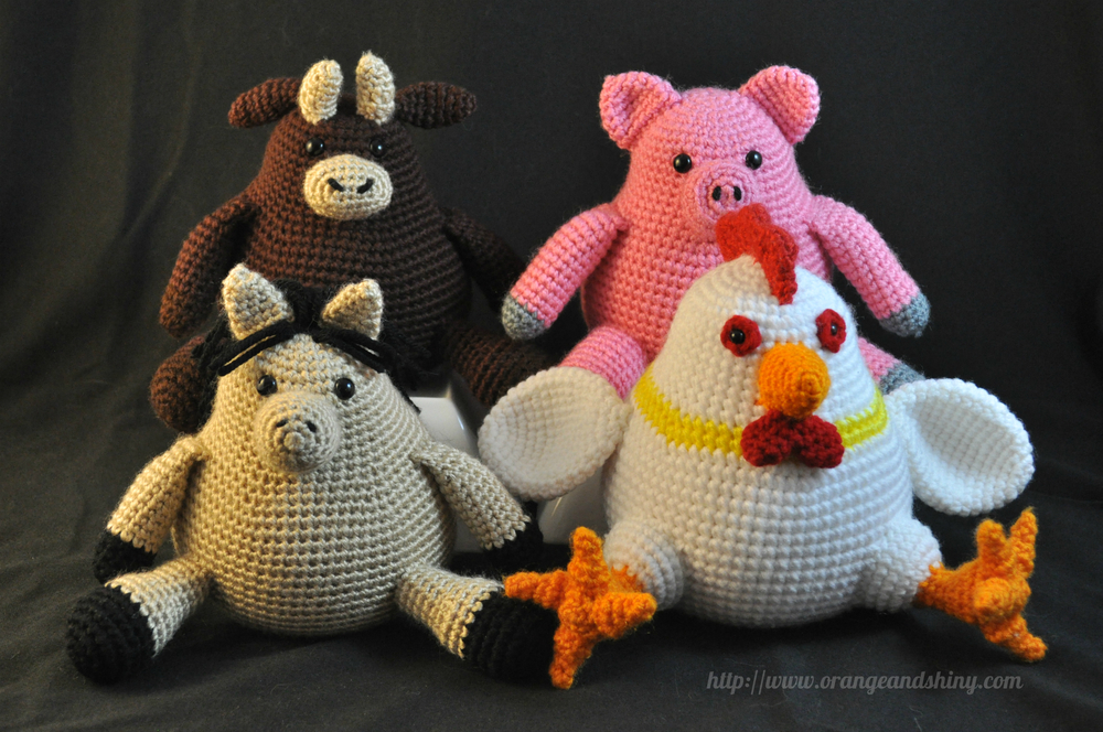 Orange and Shiny Original Amigurumi Farm Animals Collection