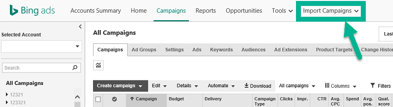 Import your AdWords campaigns into Bing to expand your SEM reach.