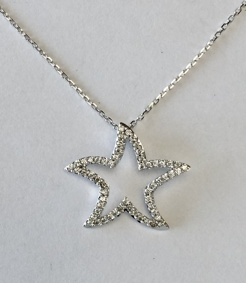 14k white gold diamond starfish pendant charles frederick jewelers 14k white gold diamond starfish pendant mozeypictures Choice Image