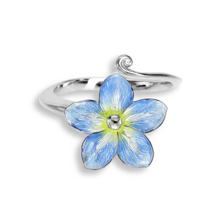 Sterling Silver Forget-Me-Not Ring Blue Rhodium Plating