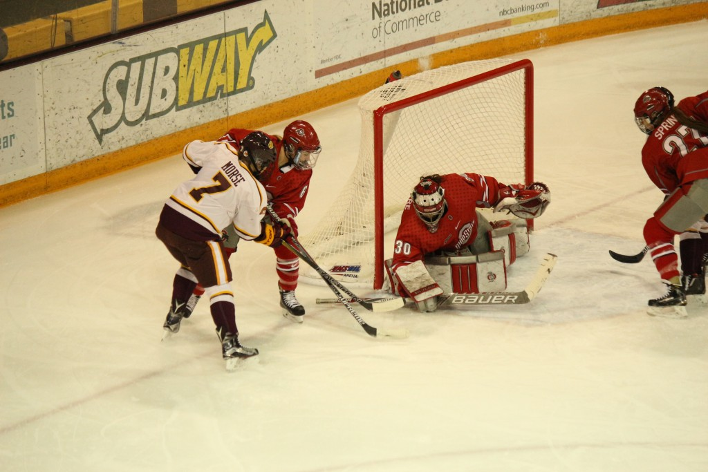 Freshman Megan Morse netted her second goal of the season in UMD's 6-4 loss to Ohio State Friday night. BRAD EISCHENS/STATESMAN