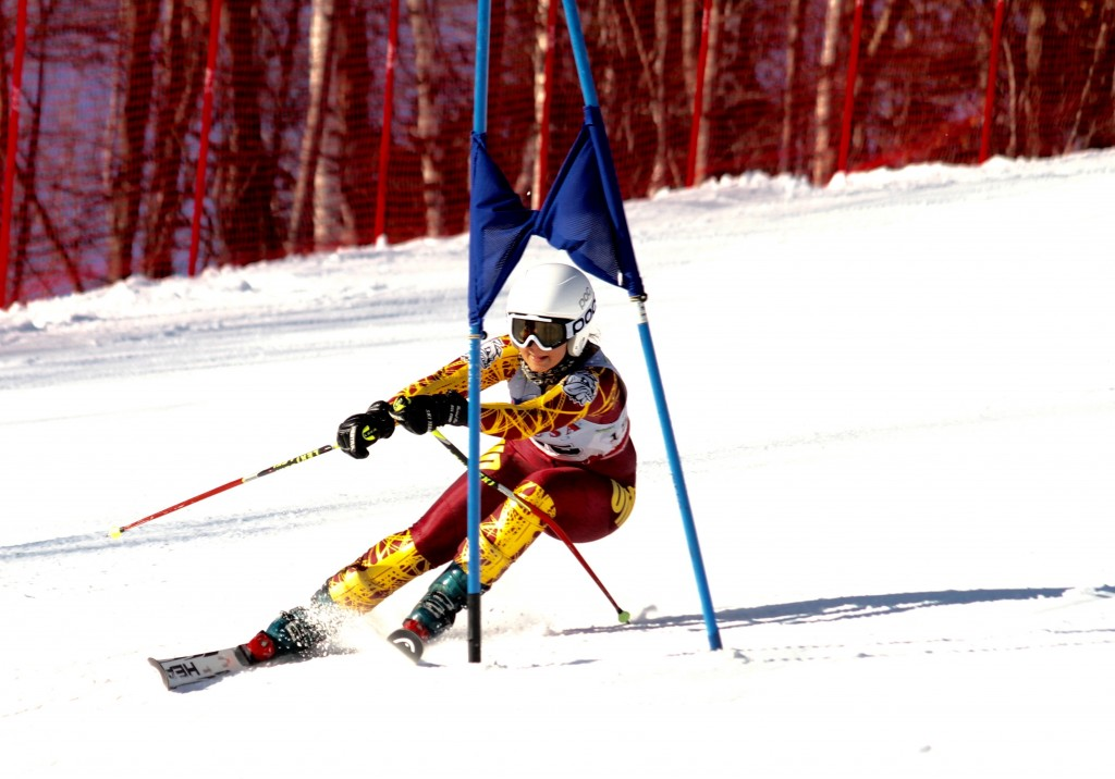 Ahnika Hesbjerg races through a slalom course at Spirit Mountain last weekend. BRENDON VIAENE/SUBMITTED