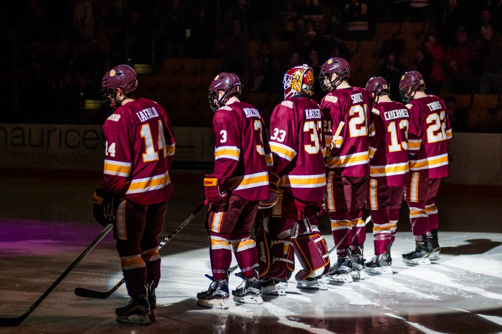 At No. 14, UMD is the lone team in the Northeast Regional outside the top 10 in the USCHO poll. Providence leads the way at No. 4, while Boston College checks in at No. 6 and Harvard is No. 10. ALEX GANEEV/STATESMAN