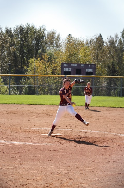 Senior pitcher Cayli Sadler winds up in a Fall 2015 scrimmage. Sadler has picked up four wins on UMD's seven game winning streak, and has an earned run average of just 1.07 in right starts this season. BRAD EISCHENS/STATESMAN