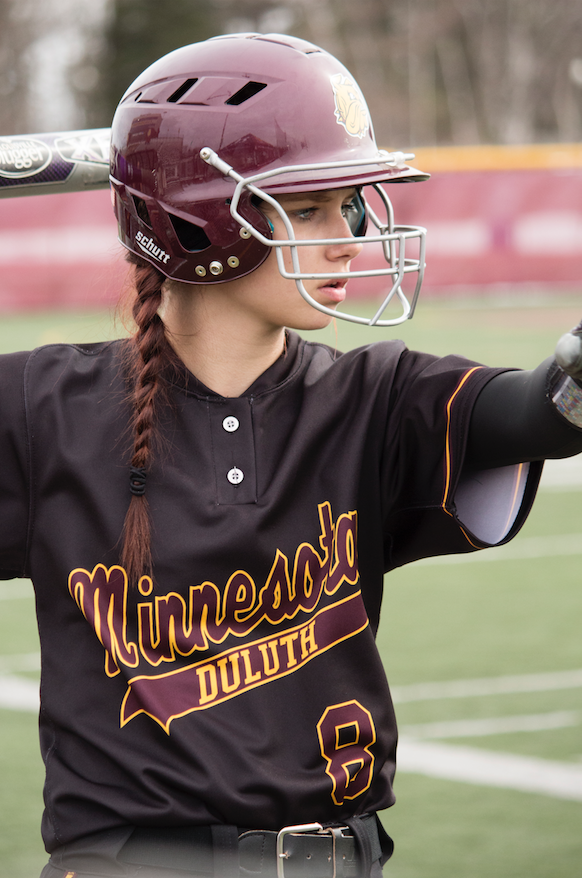 Freshman outfielder Sammi Sadler takes warmup swings during UMD's home opener at James S. Malosky Stadium. BRAD EISCHENS/STATESMAN