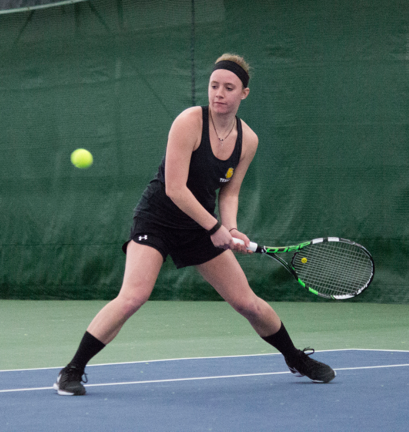 Kaitlin Wohnoutka lines up a shot in a recent tennis match at the Arrowhead Tennis Center. It was one of just two NSIC home matches for UMD. BRAD EISCHENS/STATESMAN
